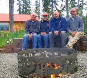 Pyle family enjoying fire