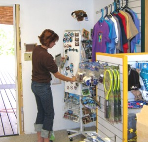 Debbie arranging the office shop