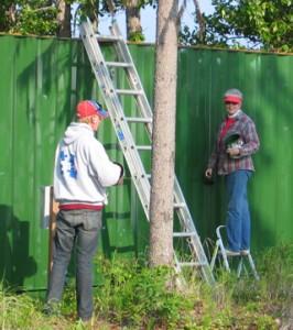 Jake & Jan painting the conex