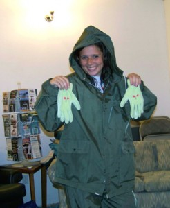 Miranda modeling rainsuits