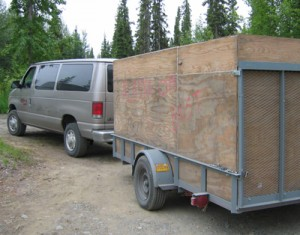Alaska or Bust on side of trailer
