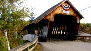 Squam Covered Bridge,1990, over edge of Little Squam Lake, Ashland