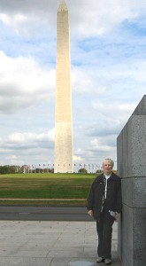 Jan at WWII Monument with Washington Monument in background