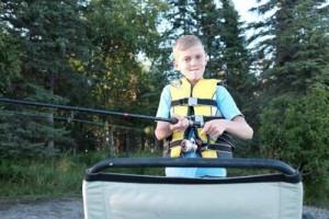 Kam on the pontoon boat