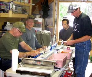Jon, Cody, Mark & Ryan processing the fish