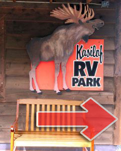 The old Kasilof RV Park sign with the moose moves to the lodge.