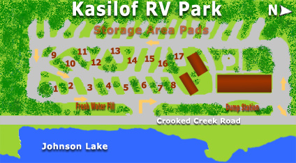 Layout of the RV park, two rows of camping with a lodge, bathrooms, showers, and community fire pit.